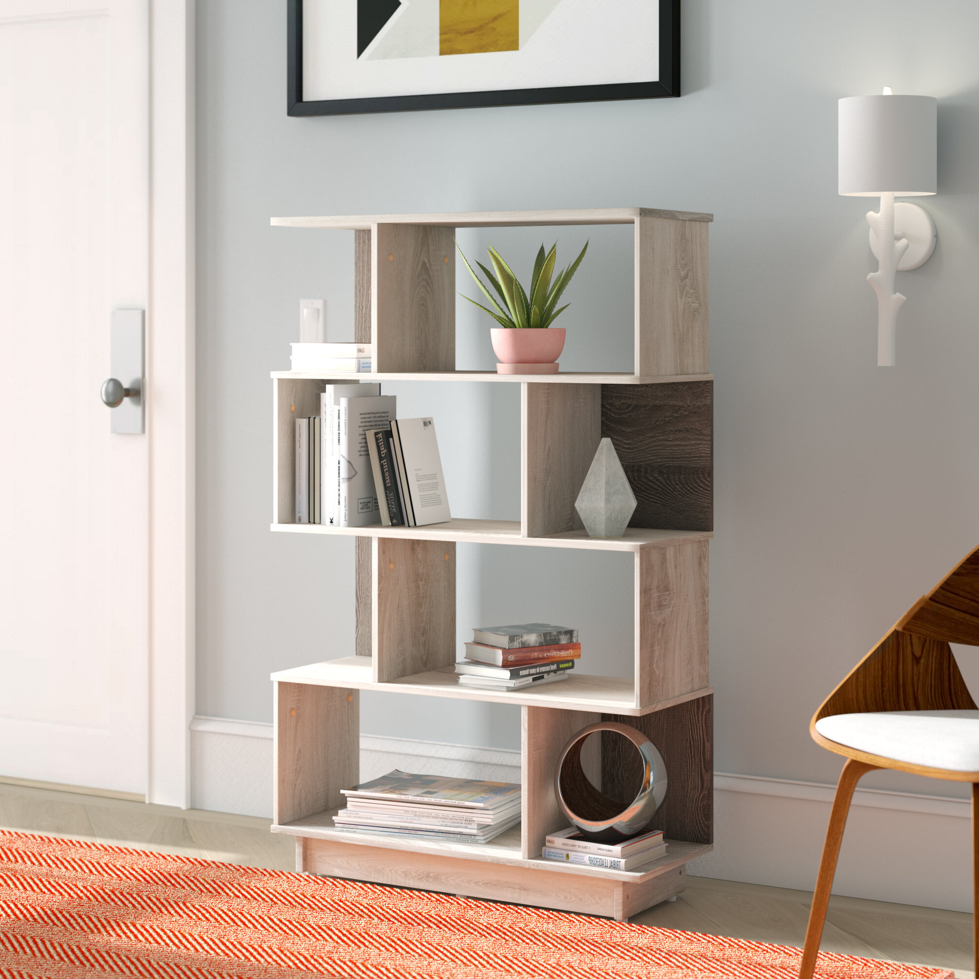 Wayfair In Most Recent Cleisthenes Geometric Bookcases (View 18 of 20)
