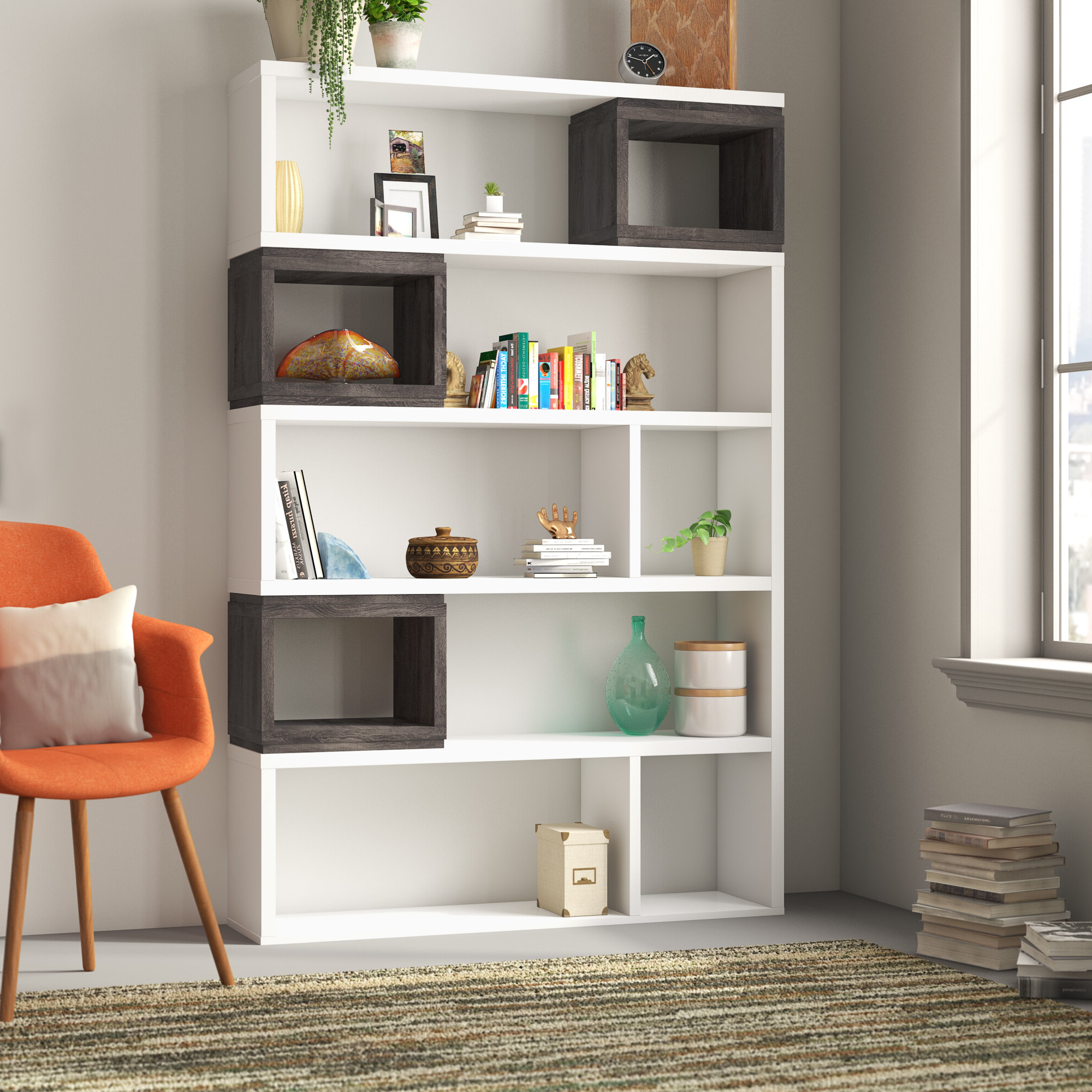 Wayfair Throughout Favorite Swarey Geometric Bookcases (View 18 of 20)