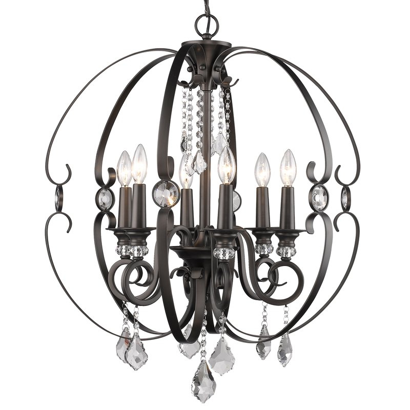 Well Known Alden 6 Light Globe Chandeliers With Regard To Hardouin 6 Light Globe Chandelier (View 13 of 25)