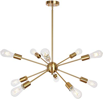 Well Known Amazon: Sputnik Chandelier 10 Light Black Modern Pendant Throughout Everett 10 Light Sputnik Chandeliers (View 18 of 25)
