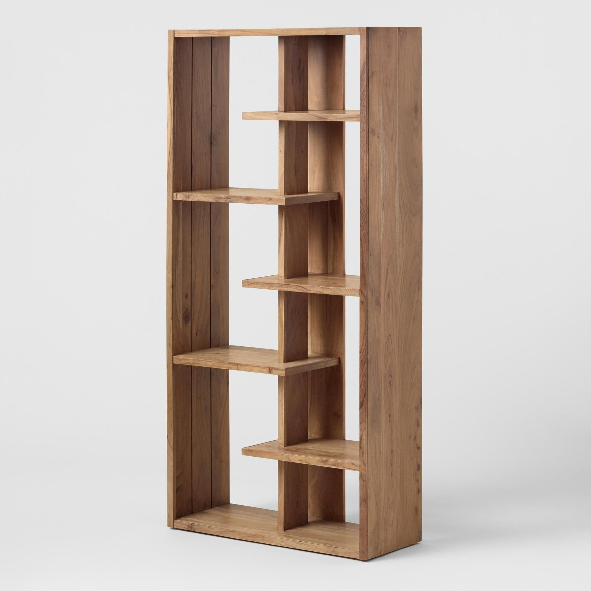 Well Known Ansley Geometric Bookcases With Regard To Natural Acacia Wood Fletcher Bookshelfworld Market (View 18 of 20)