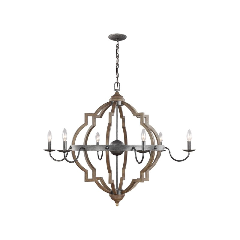 Well Known Donna 6 Light Candle Style Chandelier Within Hamza 6 Light Candle Style Chandeliers (View 23 of 25)