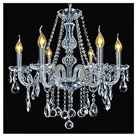 Well Known Dst Marie Therese 6 Arms Chandelier, Clear Geniune Crystal Glass Pendant Chandelier Ceiling Light For Dining Room, Bedroom, Living Room Pertaining To Thresa 5 Light Shaded Chandeliers (View 12 of 25)