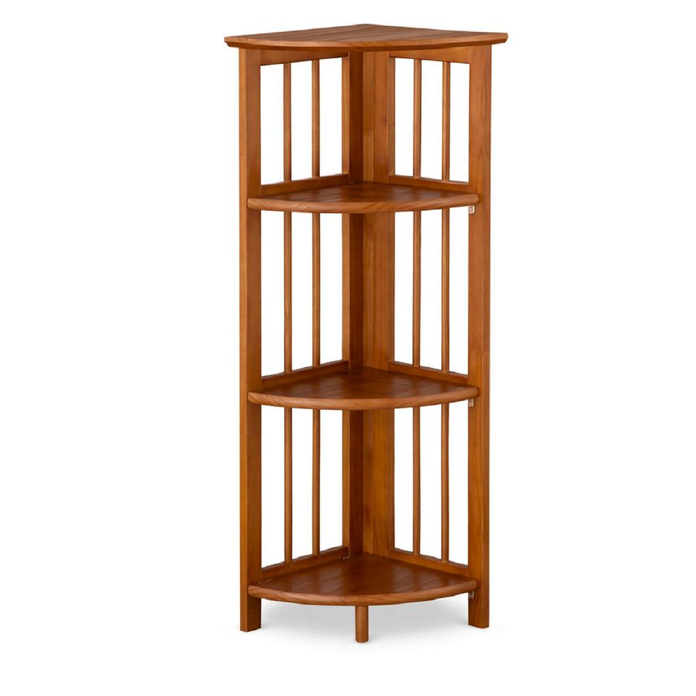 Well Known Duerr Corner Unit Bookcases In Casual Home Chestnut (Brown) 4 Shelf Corner Folding Bookcase (View 20 of 20)