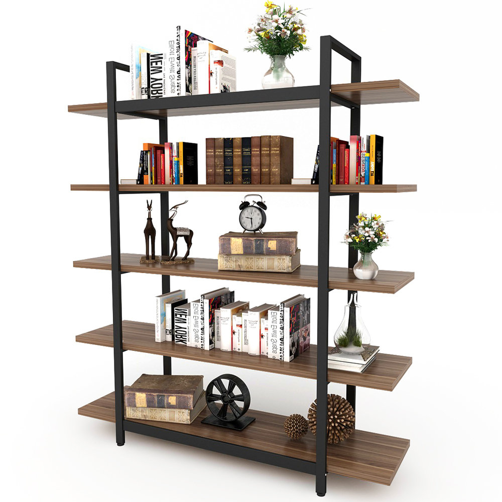 Well Known Gladstone Etagere Bookcases Inside Williston Forge Melia Vintage Industrial Style 5 Tier Etagere Bookcase (View 12 of 20)