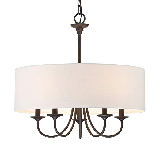 "Well Known Kira Home Quinn 21"" Traditional 5 Light Chandelier + White Linen Drum Shade, Oil Rubbed Bronze Finish Intended For Burton 5 Light Drum Chandeliers (View 8 of 25)"