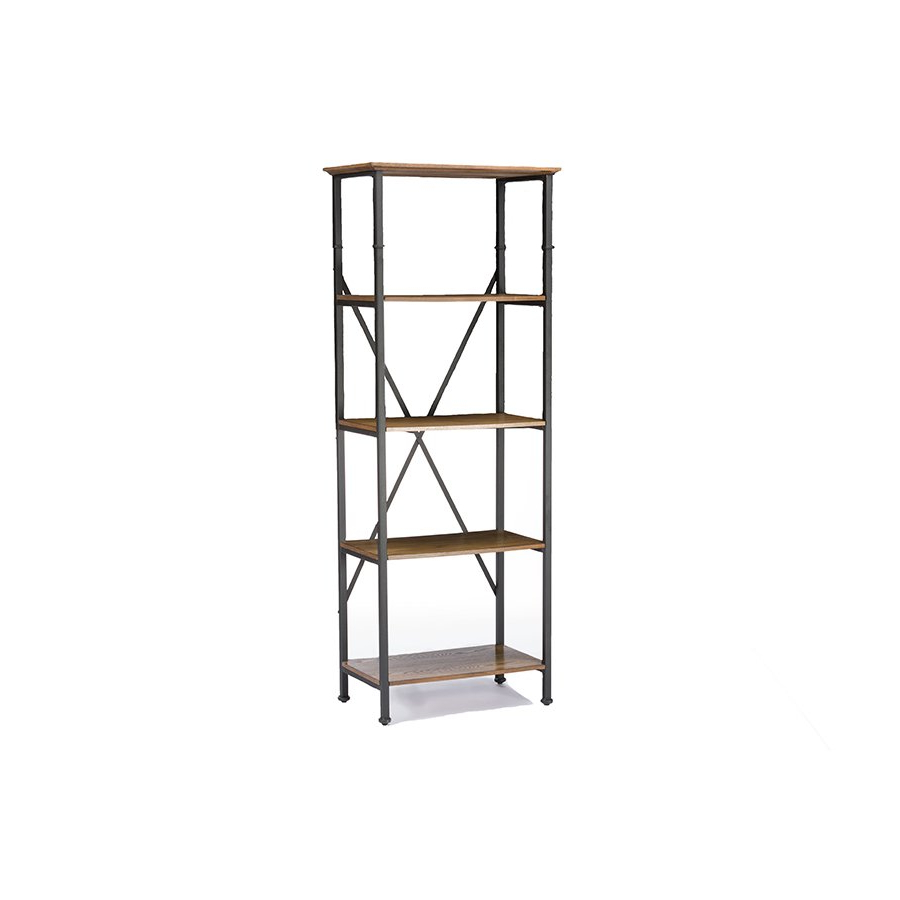 Well Known Lancashire Cube Bookcases Within Lancashire Brown Wood & Metal Bookcasebaxton Studio (View 19 of 20)