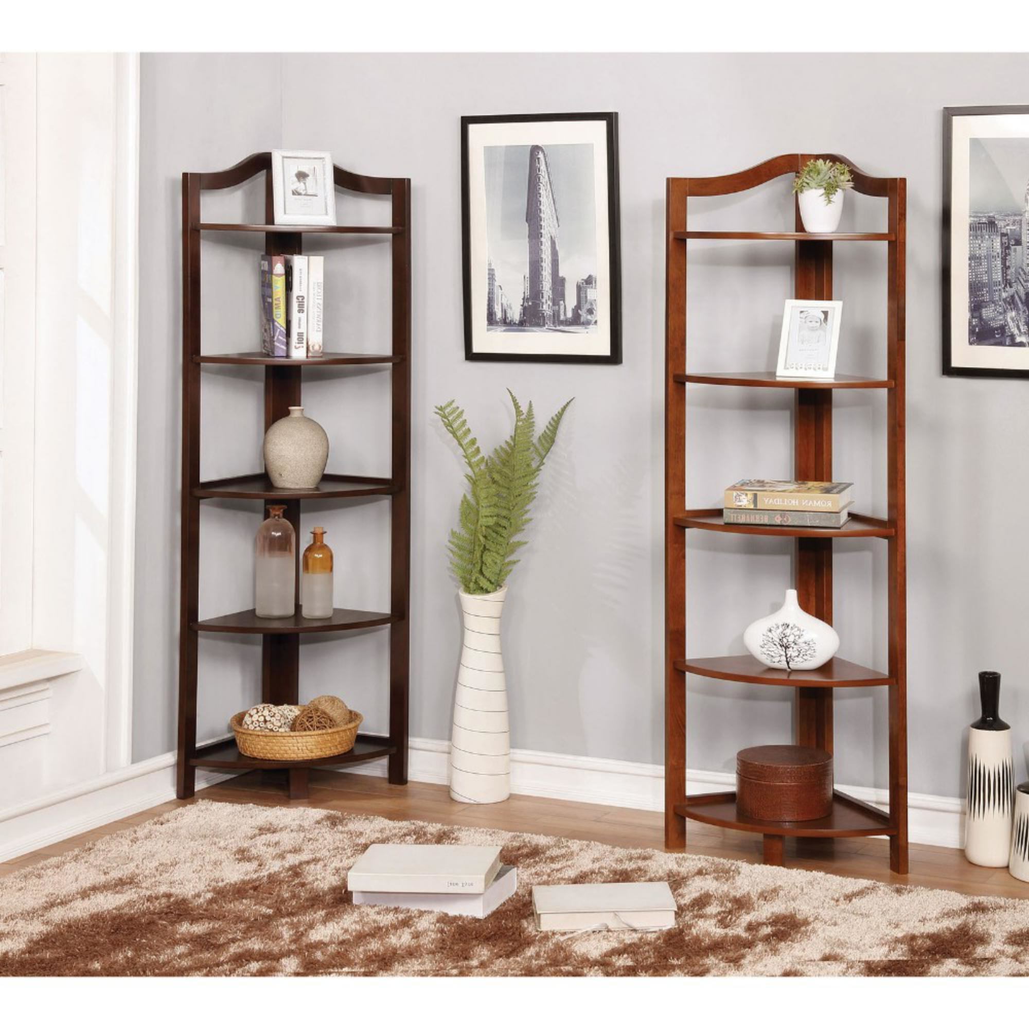 Well Known Lecroy Transitional Wooden Open Frame Corner Bookcase With Regard To Emerson Corner Unit Bookcases (View 19 of 20)