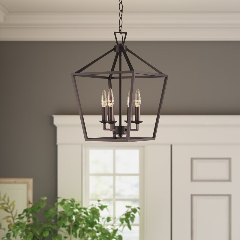 Well Known Louanne 3 Light Lantern Geometric Pendants Inside Carmen 4 Light Lantern Geometric Pendant (View 25 of 25)