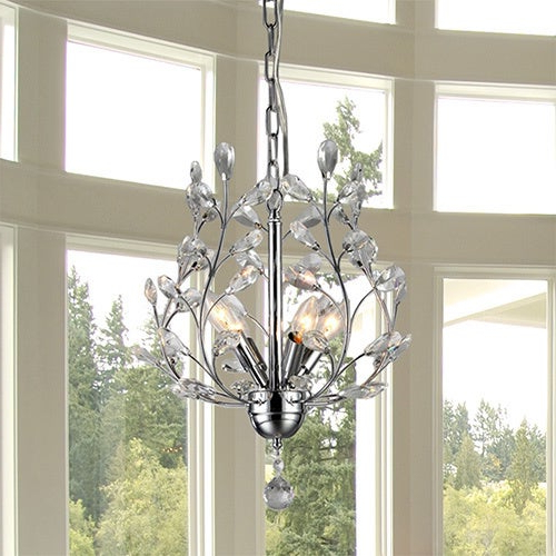 Well Known Marie 4 Light Chrome 13 Inch Crystal Chandelier For Von 4 Light Crystal Chandeliers (View 14 of 25)