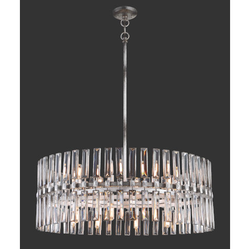 Well Known Metropolitan Lighting Belle Aurore Shadow Silver Leaf 16 Light Pendant Throughout Aurore 4 Light Crystal Chandeliers (View 17 of 25)
