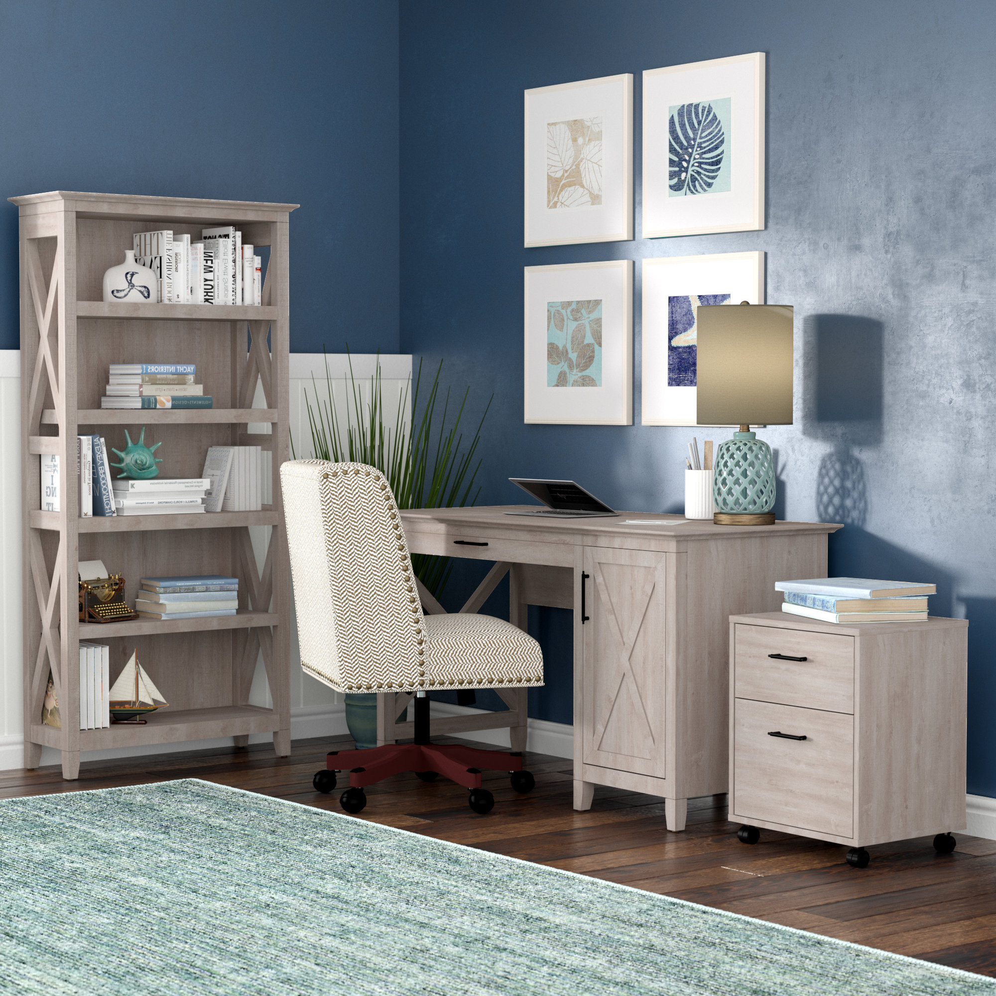 Well Known Oridatown Standard Bookcases In Oridatown Desk, Bookcase And Filing Cabinet Set (View 19 of 20)