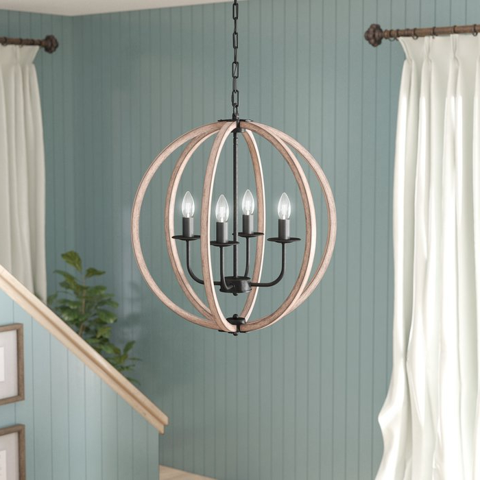 Well Known Pruneda Modern 4 Light Chandelier Pertaining To Morganti 4 Light Chandeliers (View 18 of 25)