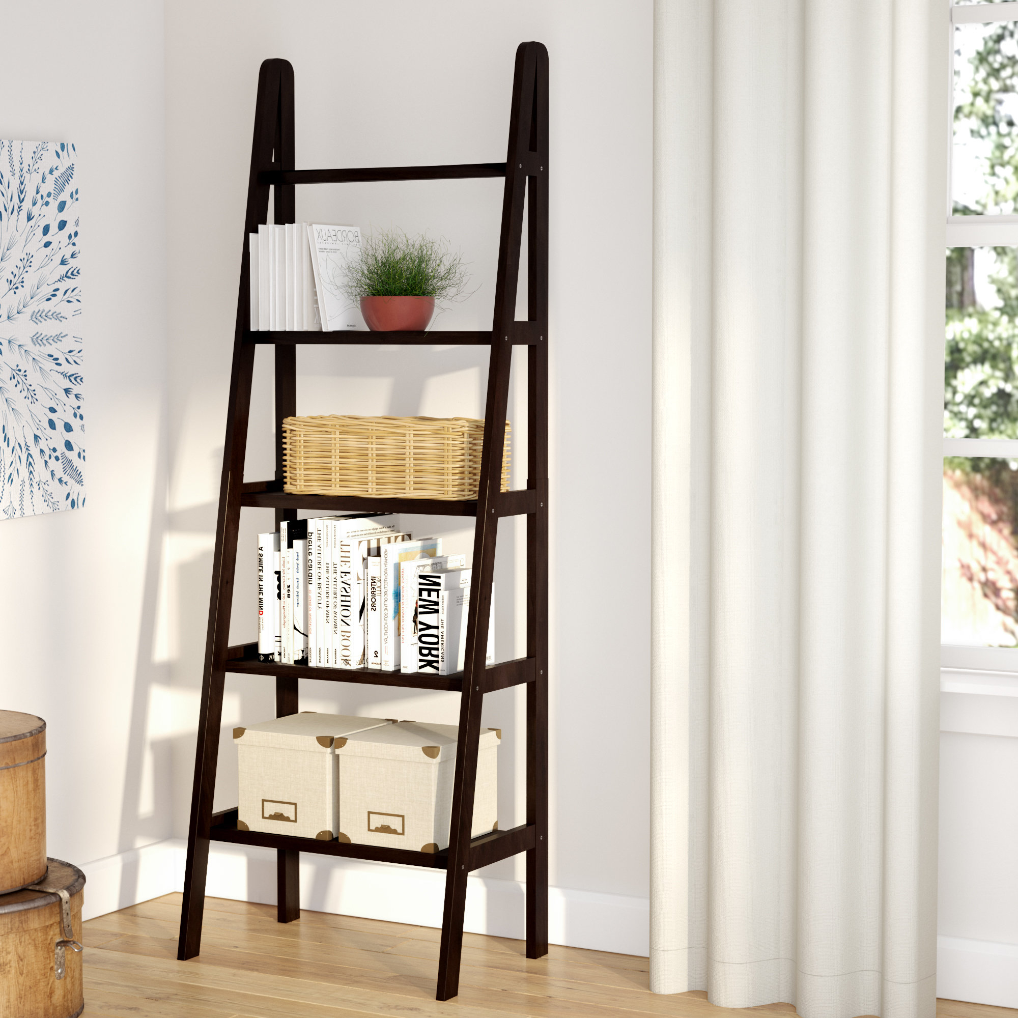 Well Known Ranie Ladder Bookcase Throughout Kaitlyn Ladder Bookcases (View 8 of 20)
