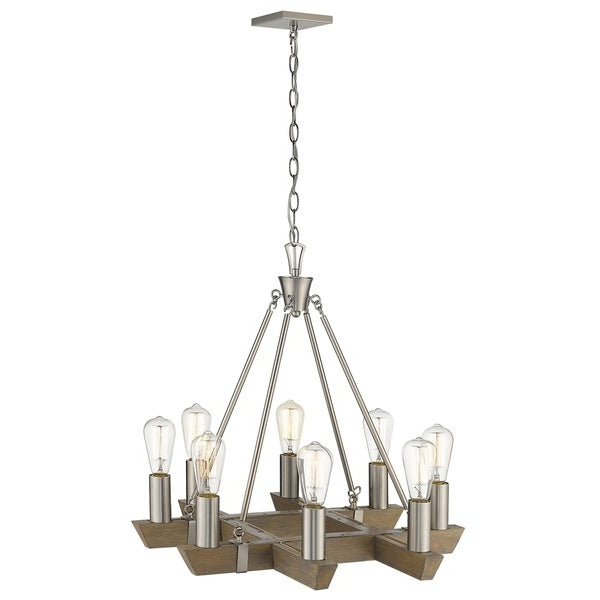 Well Known Shop Finnick 8 Light Satin Nickel Chandelier – Free Shipping With Finnick 3 Light Lantern Pendants (View 22 of 25)