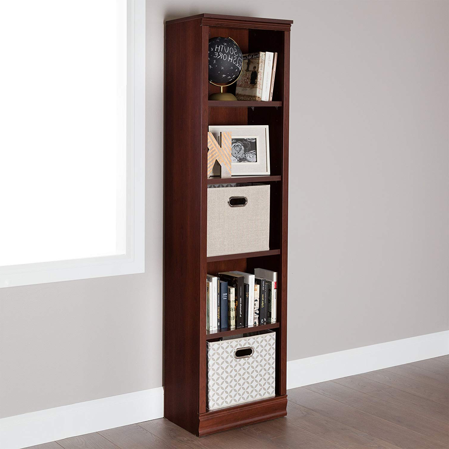 Well Known South Shore Morgan Narrow 5 Shelf Bookcase – Adjustable Shelves, Royal Cherry Throughout Narrow Profile Standard Cube Bookcases (View 5 of 20)