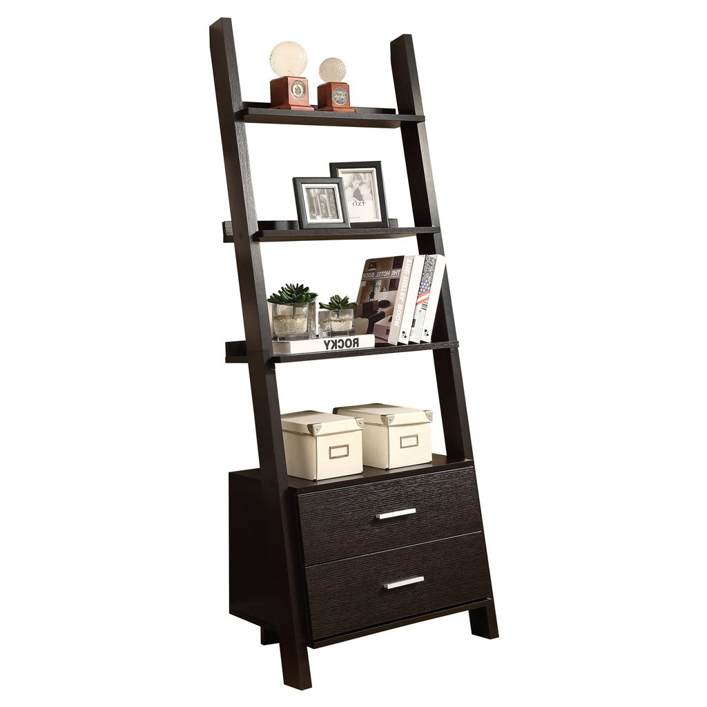"Well Liked Antoninus Ladder Bookcases Regarding Monarch Specialties I 2542 Ladder Bookcase With Two Storage Drawers, 69"", Cappuccino (View 17 of 20)"