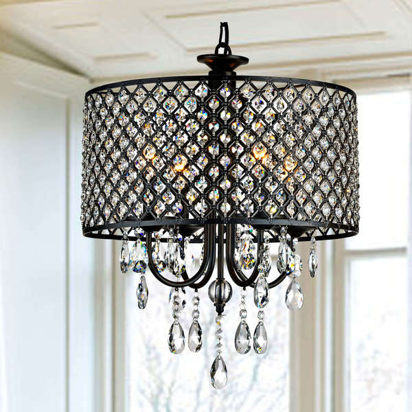 Well Liked Berger 5 Light Candle Style Chandeliers Pertaining To Shop Silver Orchid Berger Antique Black 4 Light Round (View 24 of 25)
