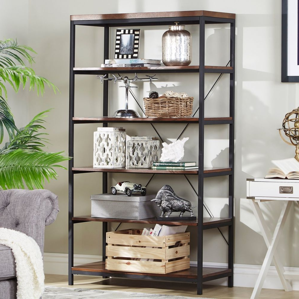 Well Liked Bookshelf Bookcase Display Shelving Unit 6 Shelf Vertical Inside Cifuentes Dual Etagere Bookcases (View 11 of 20)