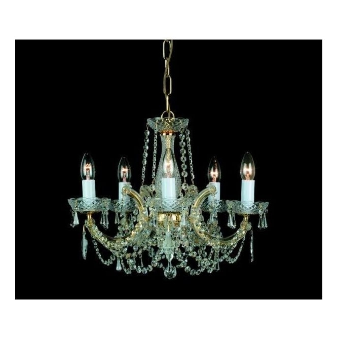 Well Liked Cp00150/05/g Marie Theresa 5 Light Chandelier In Gold Finish Trimmed With Strass Crystals Within Thresa 5 Light Shaded Chandeliers (View 7 of 25)