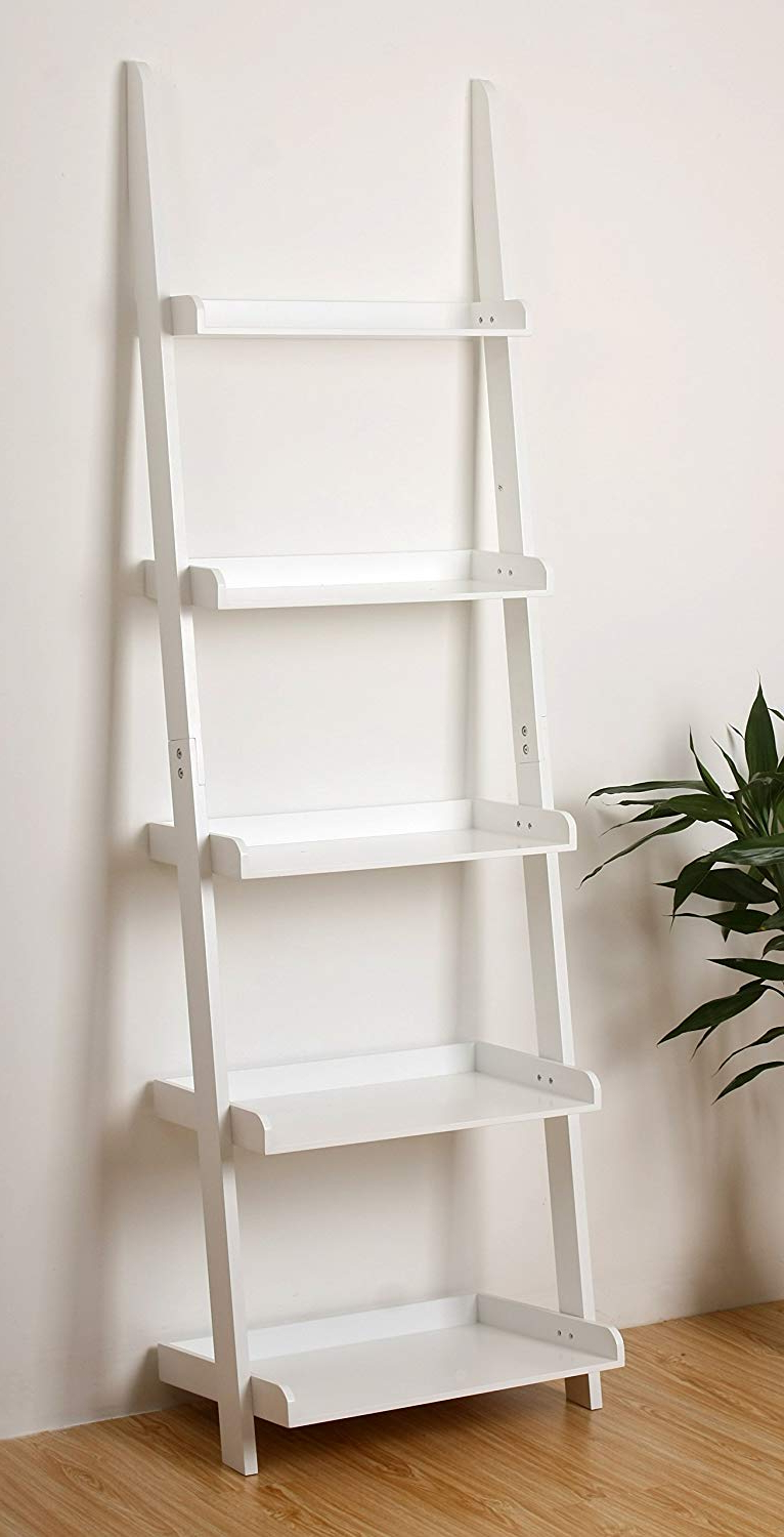 "Well Liked Ehemco 5 Tier Leaning Ladder Book Shelf In White Finish 21 5/8""W X70""H Pertaining To Alfred Ladder Bookcases (View 9 of 20)"