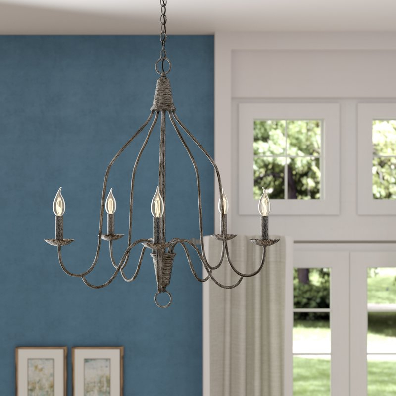 Well Liked Geeta 5 Light Candle Style Chandelier Pertaining To Berger 5 Light Candle Style Chandeliers (View 25 of 25)