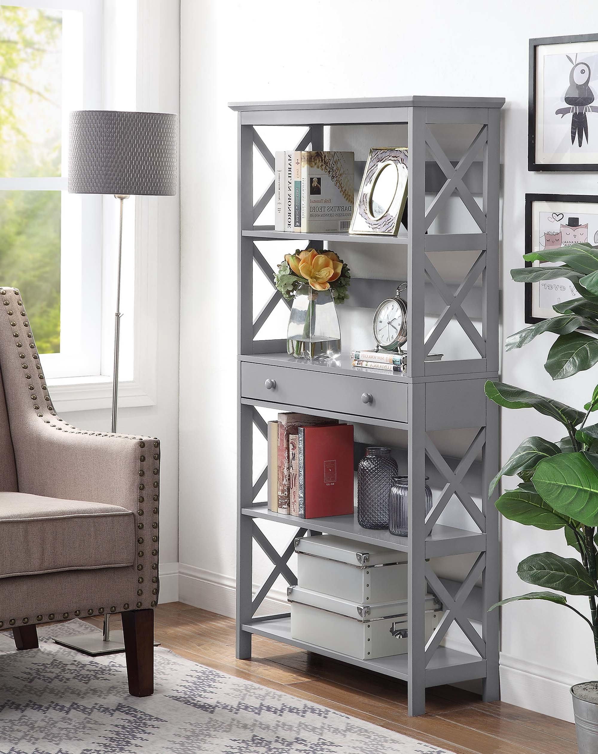 Well Liked Gracelynn 5 Tier Etagere Bookcases With Beachcrest Home Gracelynn 5 Tier Etagere Bookcase (View 8 of 20)