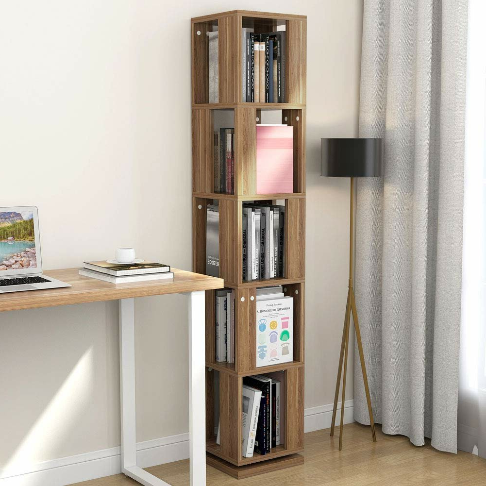 Well Liked Lindberg Modern Rotating Corner Bookcase Within Courtdale Corner Bookcases (View 13 of 20)