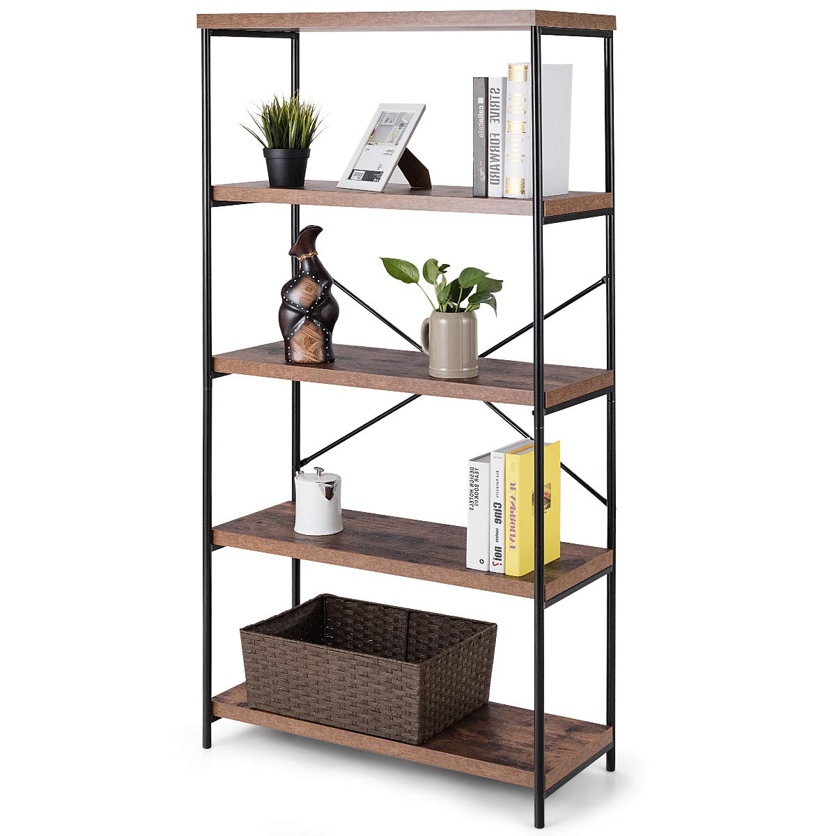 Well Liked Rech 4 Tier Etagere Bookcases Regarding Tangkula 4 Tier Bookcase, Multipurpose Rustic Industrial Bookshelf, Décor  Accent For Home, Office, Living Room, Bedroom, Wood Shelves W/metal  X Shaped (View 19 of 20)