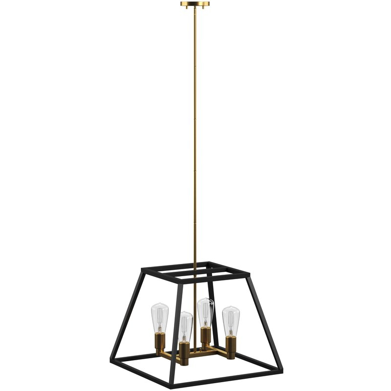 Well Liked Shisler 4 Light Square/rectangle Chandelier Regarding Tabit 5 Light Geometric Chandeliers (View 14 of 25)
