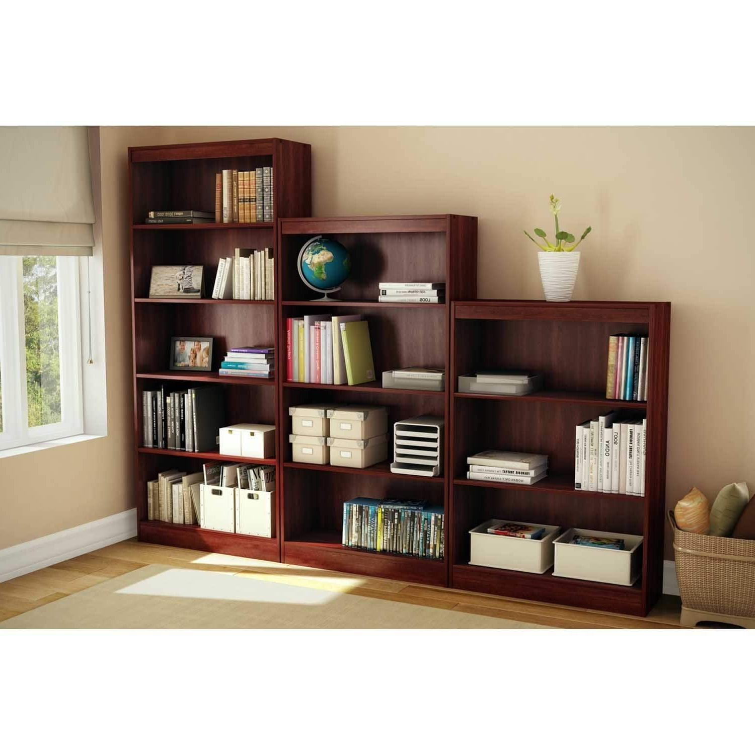 Well Liked South Shore Axess 4 Shelf Bookcase (brown – Cherry Finish Within Axess Standard Bookcases (View 19 of 20)