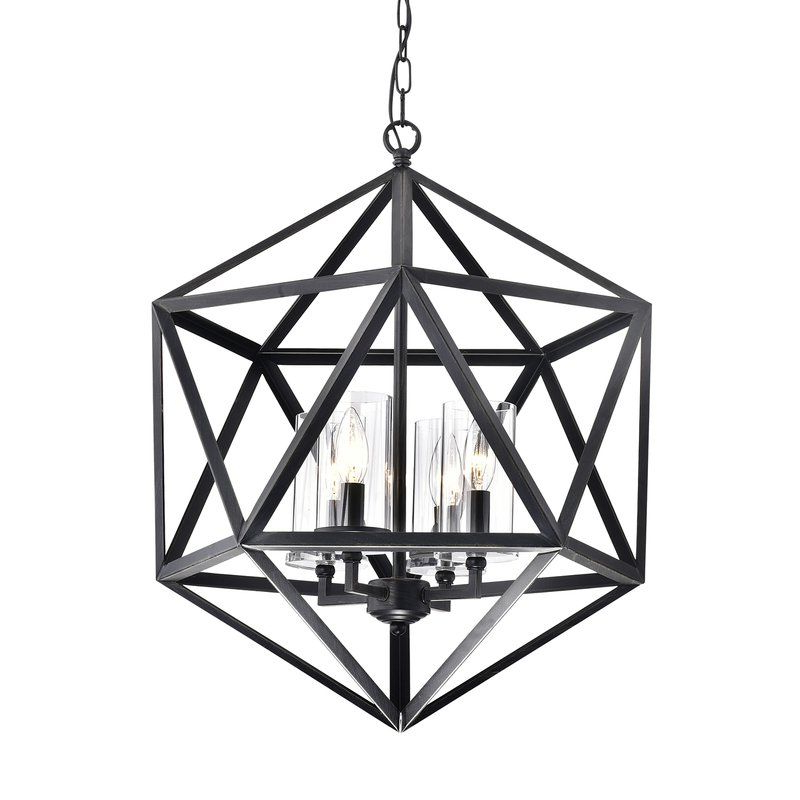 Well Liked Venita 4 Light Geometric Chandelier (View 24 of 25)