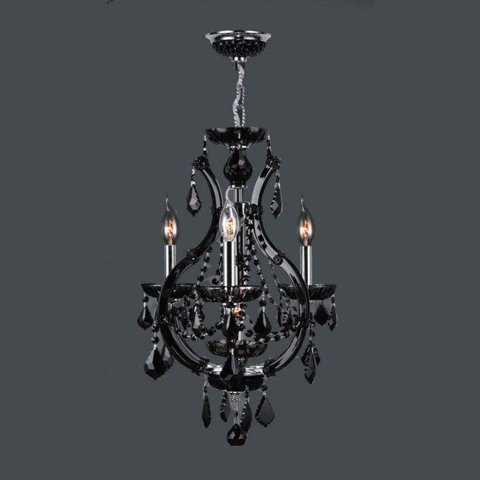 Well Liked Von 4 Light Crystal Chandeliers Intended For Lyre 4 Light Black Crystal Chandelier W83114c16 Bl (View 19 of 25)