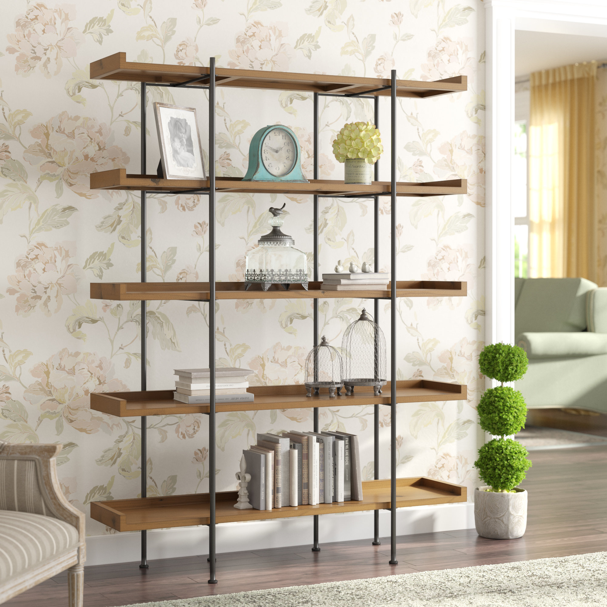Well Liked Wanda Etagere Bookcase With Swindell Etagere Bookcases (View 14 of 20)