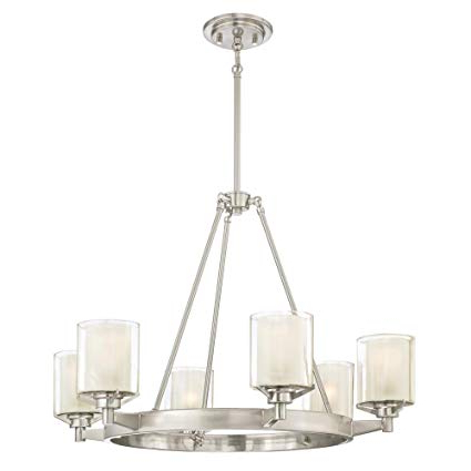 Westinghouse Lighting 6330700 Glenford Six Light Indoor Chandelier, Brushed Nickel Finish With Frosted Inner And Clear Glass Outer Shades, 6 With Most Up To Date Lyon 3 Light Unique / Statement Chandeliers (View 21 of 25)