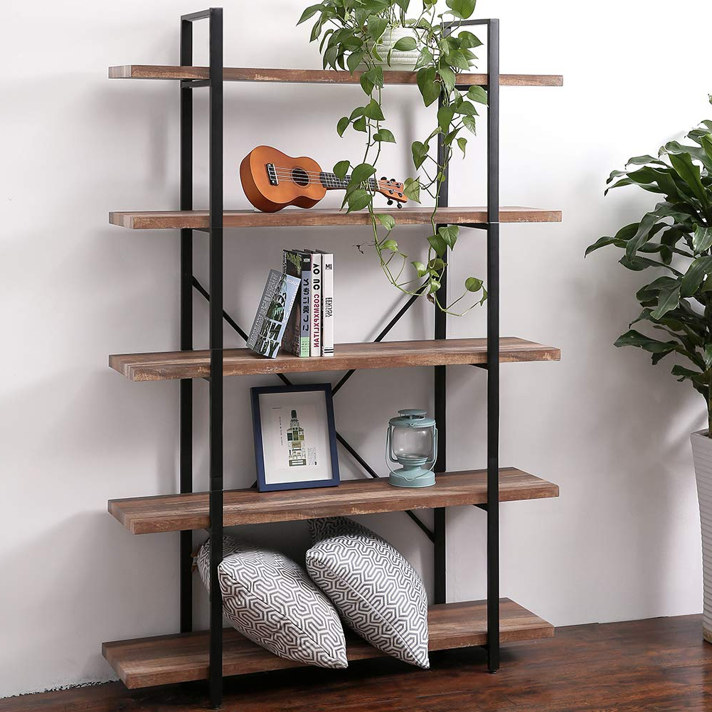 Whidden Etagere Bookcases Within Famous Superjare 5 Shelf Industrial Bookshelf, Open Etagere Bookcase With Metal Frame, Rustic Book Shelf, Storage Display Shelves, Wood Grain – Brown (View 18 of 20)