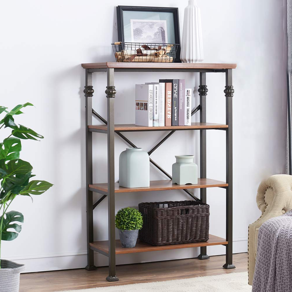 Whidden Etagere Bookcases Within Favorite O&k Furniture 4 Shelf Industrial Open Bookcase, Wood And Metal Vintage Etagere Bookshelf, Maple (View 5 of 20)