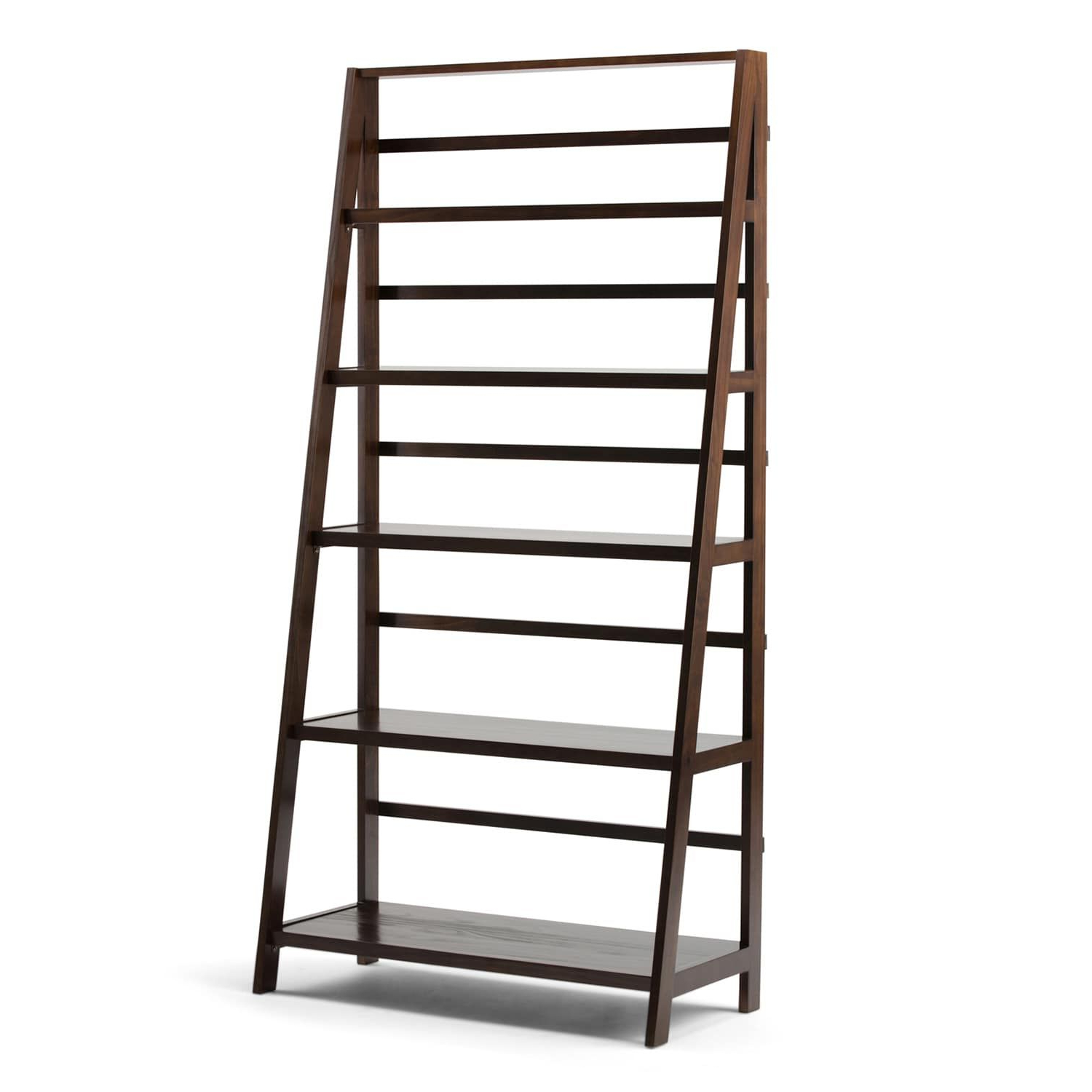 Wide Ladder Bookcases With Regard To Fashionable Simpli Home Acadian Wide Ladder Bookshelf (View 9 of 20)