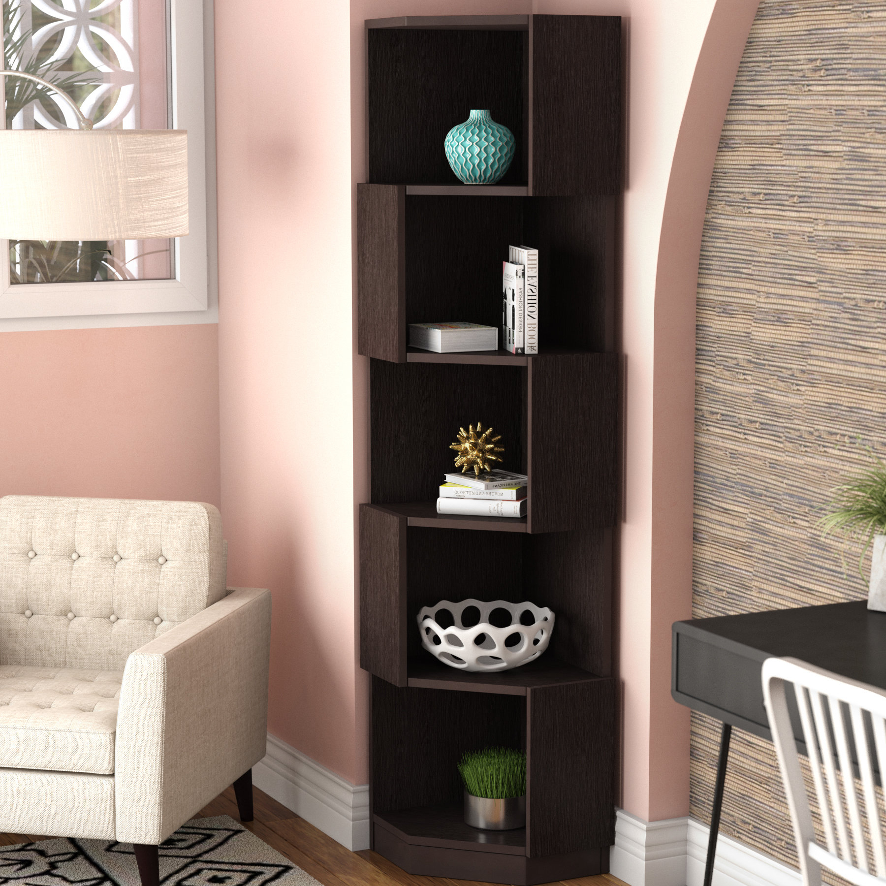 Widely Used Corner Bookcases By Hokku Designs For Courtdale Corner Bookcase (View 20 of 20)