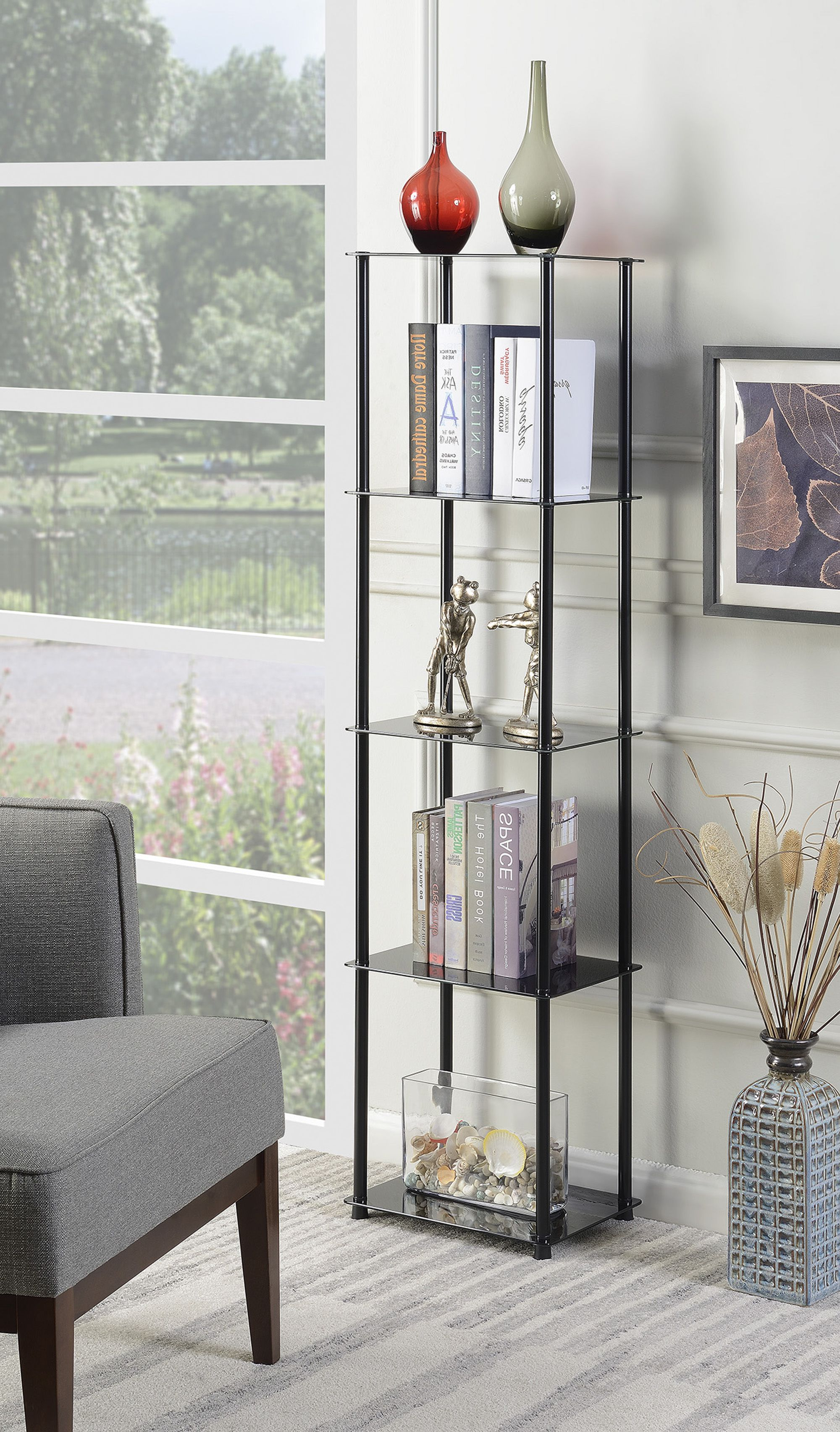 Widely Used Destiny Etagere Bookcases Regarding Convenience Concepts Designs2go 5 Tier Glass Tower (View 16 of 20)