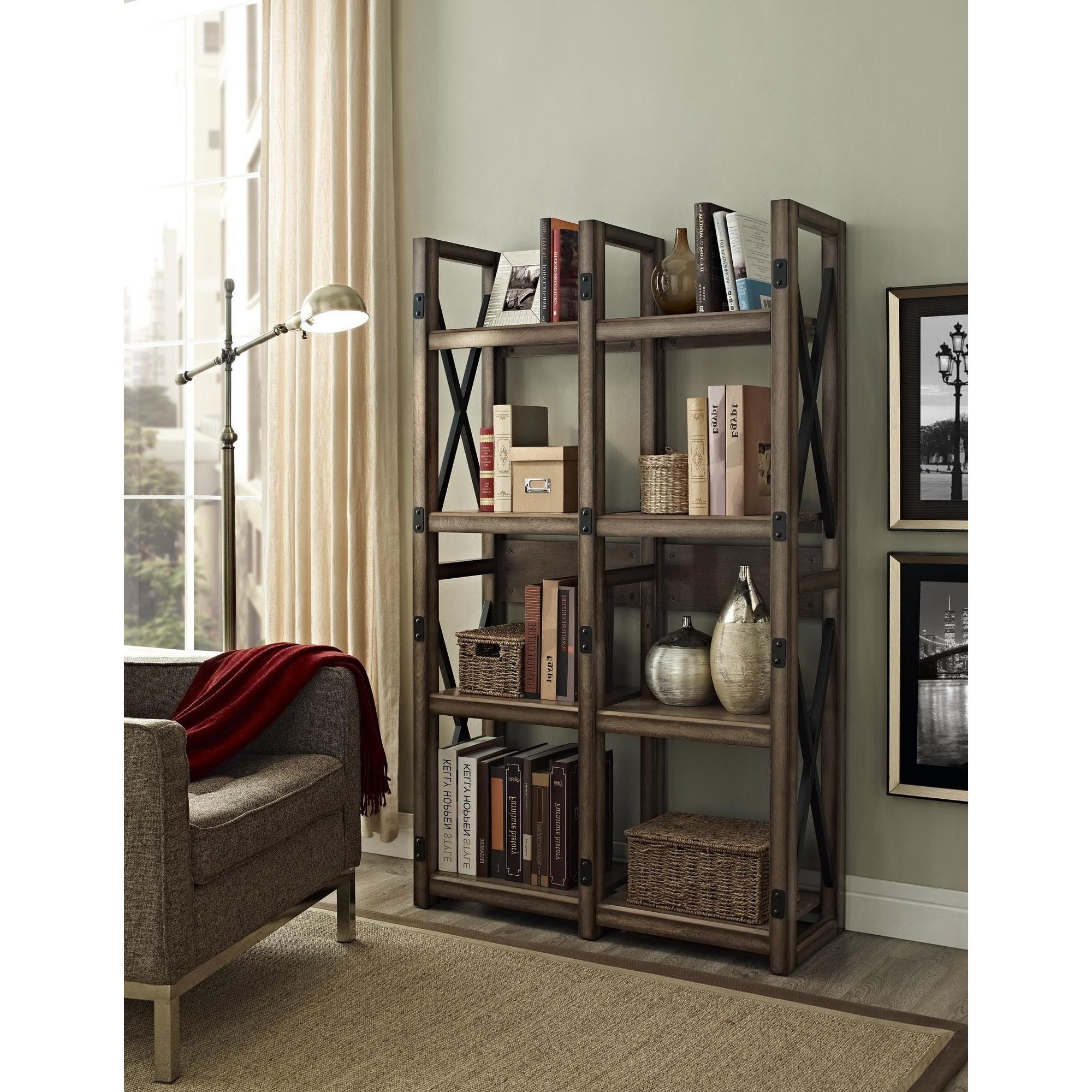 Widely Used Gladstone Etagere Bookcases Regarding Avenue Greene Woodgate Rustic Metal Frame Bookcase/ Room (View 20 of 20)