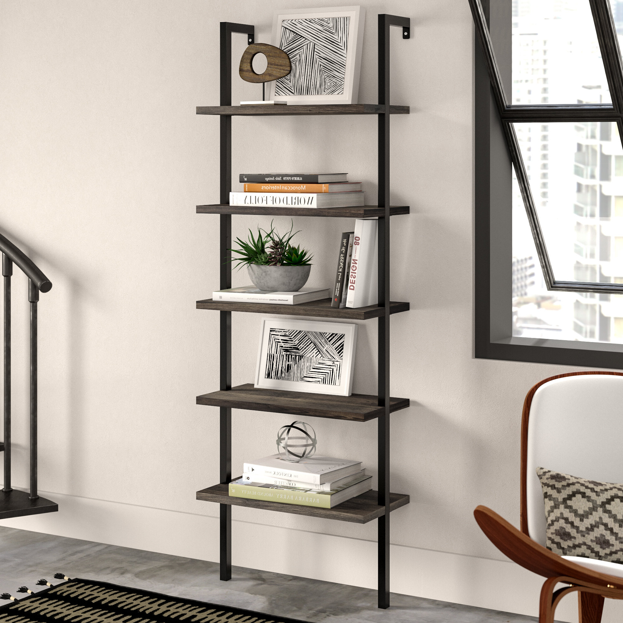 Widely Used Orren Ellis Moskowitz Ladder Bookcase With Brock Ladder Bookcases (View 18 of 20)