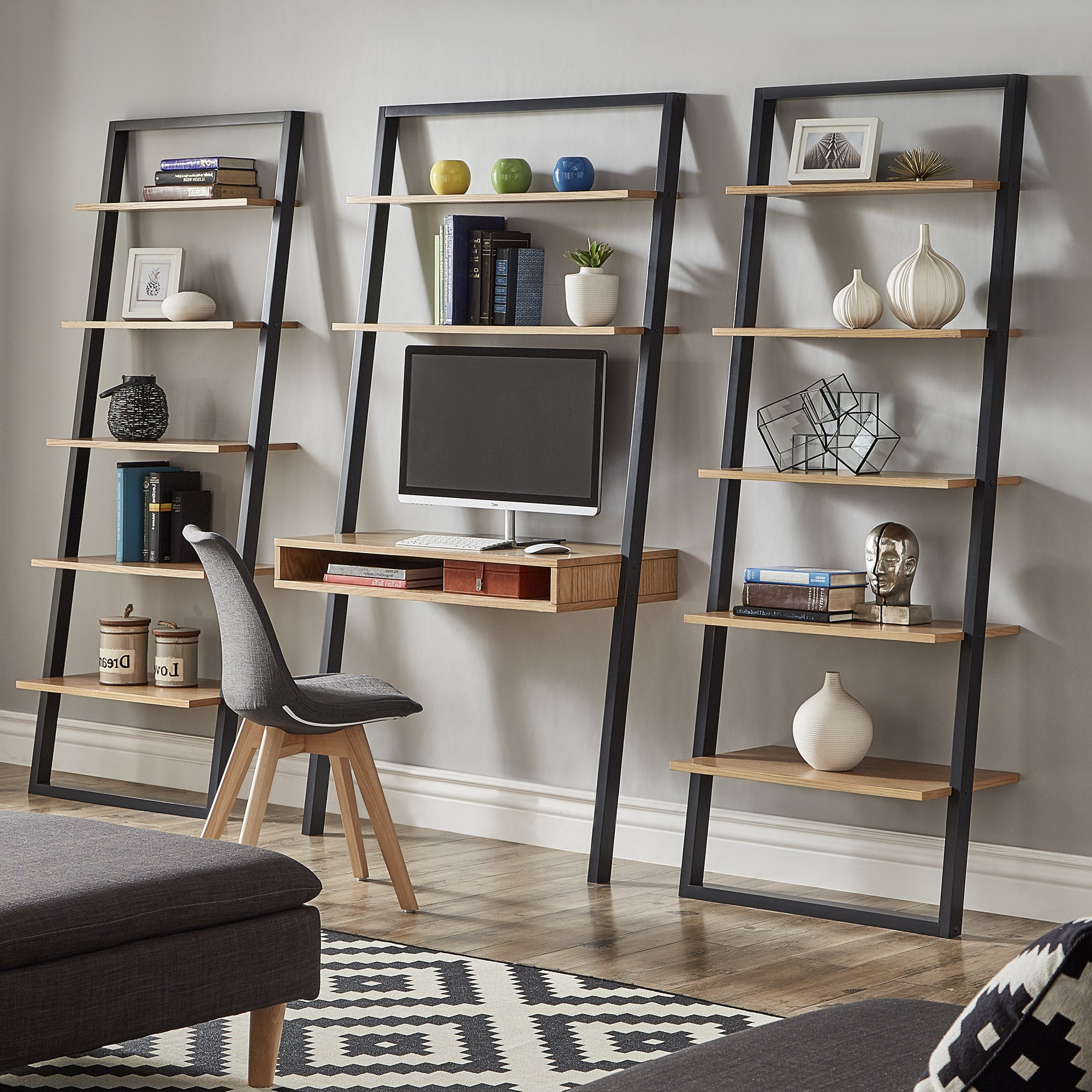 Widely Used Ranell Leaning Desk Ladder Shelvesinspire Q Modern Throughout Almanzar Ladder Bookcases (View 14 of 20)