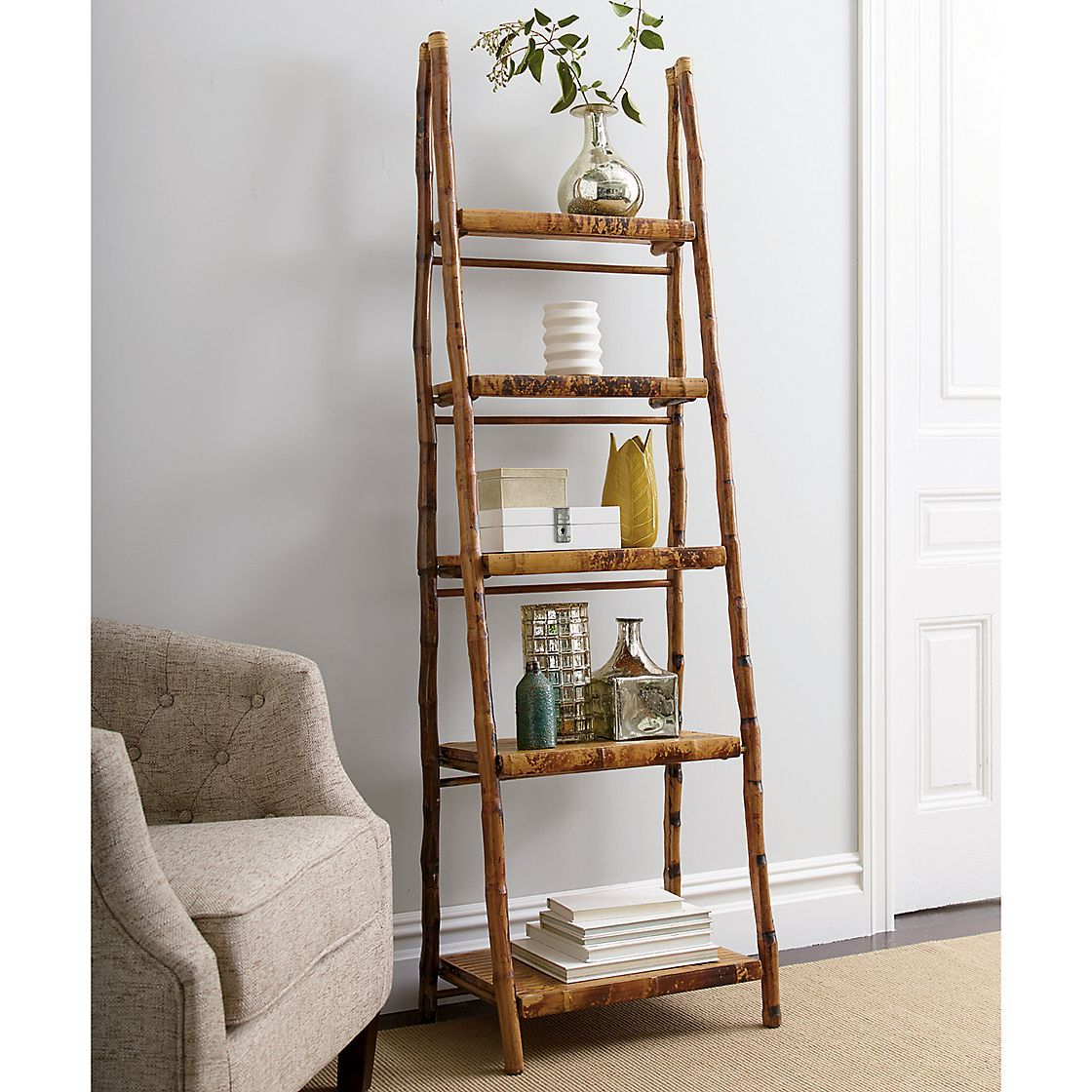 Widely Used Rattan Bamboo Folding Ladder Shelf (Gallery 15 of 20)