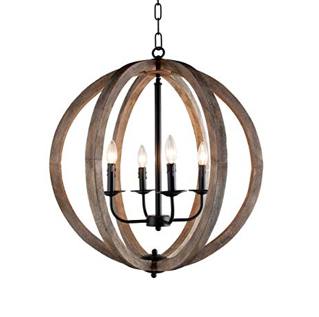 "Widely Used Stanton 4 Light Candle Style Rustic Chandelier Wood Frame Orb Foyer  Chandelier 24.4"" H X  (View 25 of 25)"