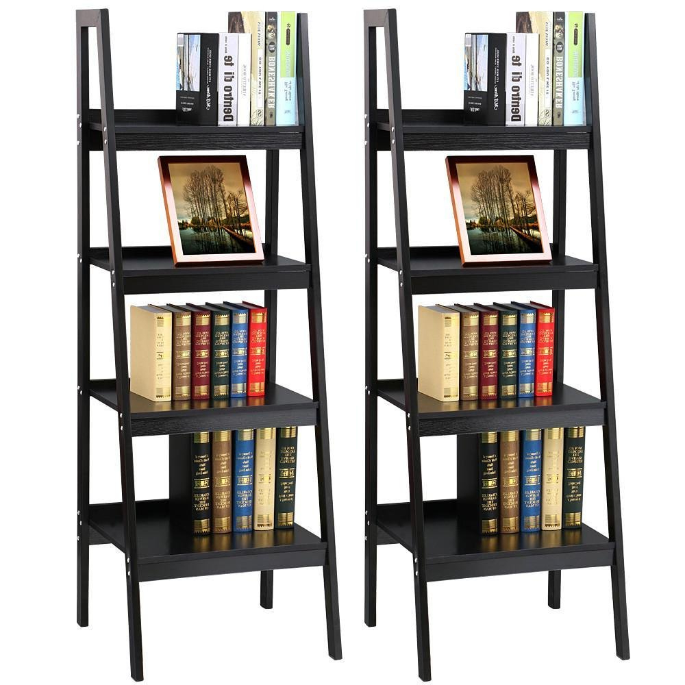 Widely Used Topeakmart 4 Shelf Floor Standing Leaning/corner Ladder Shelf Black Wood Bookcase/bookshelf With Metal Legs/frame For Brock Ladder Bookcases (View 18 of 20)