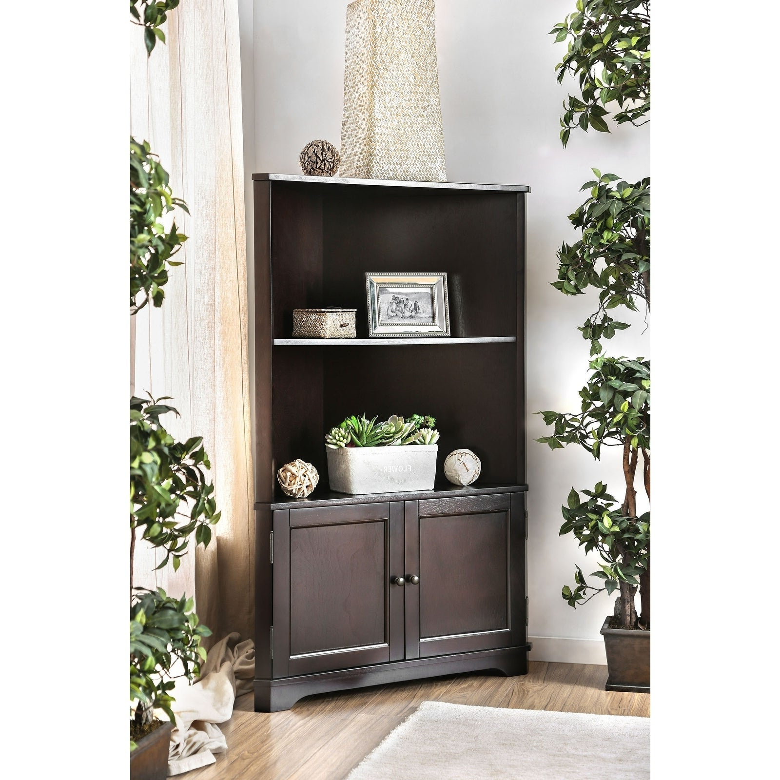 Williams Import Cavan Contemporary Bookshelf In Dark Walnut In Popular Vas Corner Bookcases (View 8 of 20)