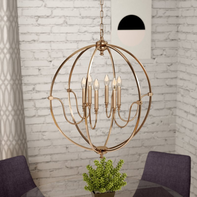 Wimborne 6 Light Globe Chandelier In Most Current Watford 6 Light Candle Style Chandeliers (View 25 of 25)