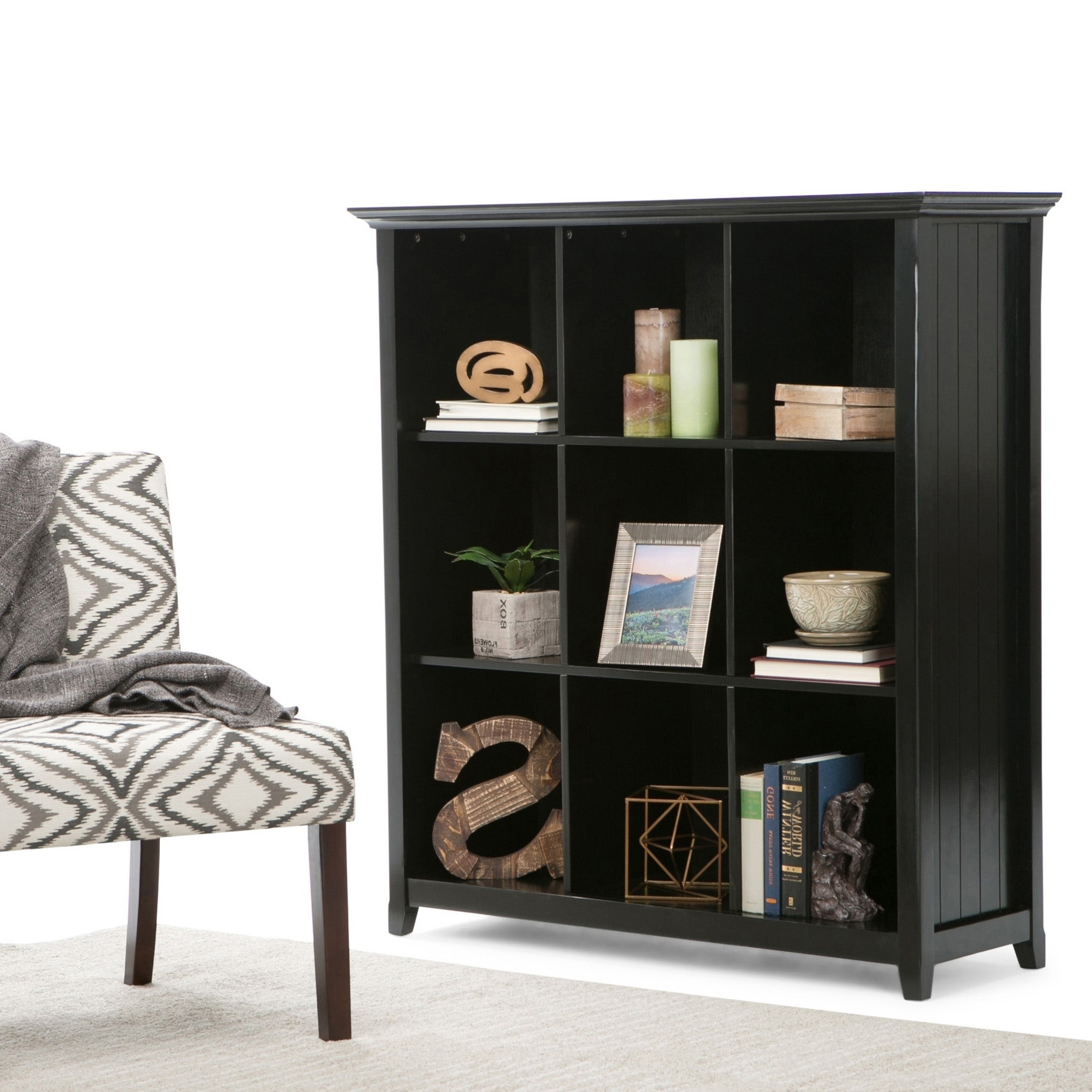 Wyndenhall Normandy Solid Wood 48 Inch X 44 Inch Rustic 9 Cube Bookcase And Storage Unit – 44 Inches Wide For 2019 Karlie Cube Unit Bookcases (View 16 of 20)