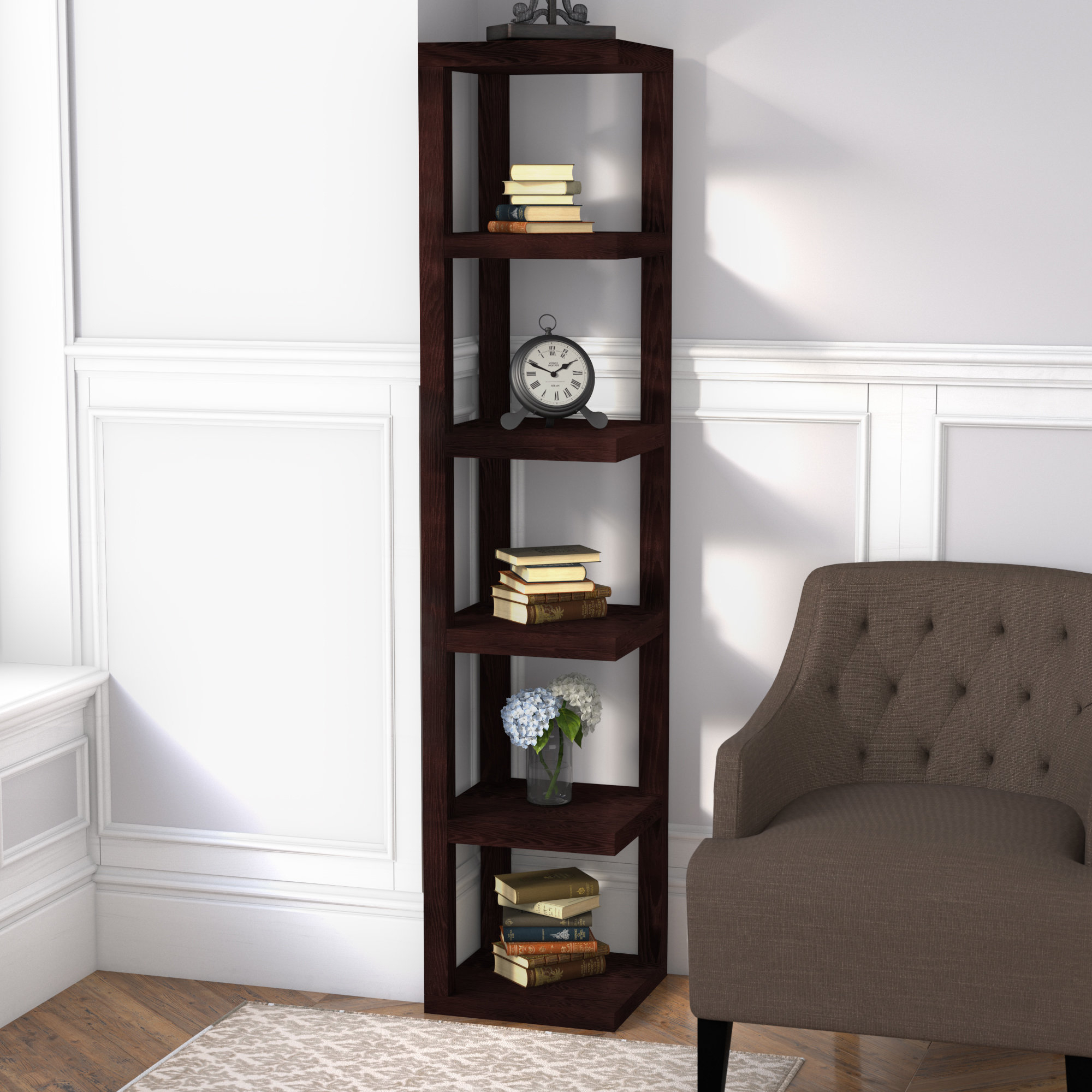 Yeatman Four Tier Corner Unit Bookcases Inside Fashionable Corner Standing Shelf (View 12 of 20)